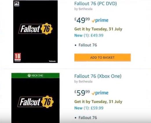 Amazon указал в качестве даты выхода Fallout 76 31 июля