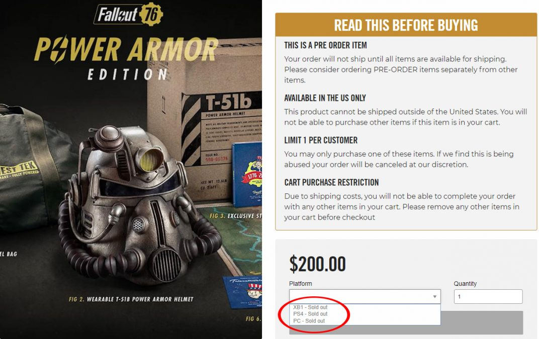 Коллекционное издание Fallout 76 Power Armor edition полностью распродано