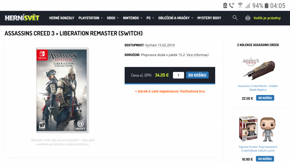 Похоже Ubisoft выпустит Assassin's Creed 3 на Nintendo Switch
